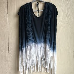 Free People Ombré Fringe Boho T-Shirt